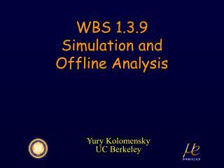 WBS 1.3.9 Simulation and Offline Analysis