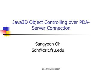 Java3D Object Controlling over PDA-Server Connection