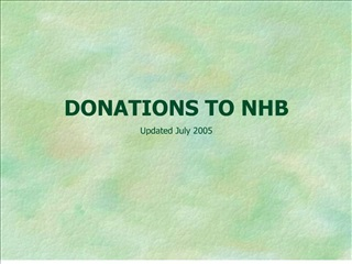 DONATIONS TO NHB Updated July 2005