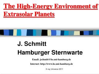 The  High-Energy Environment of Extrasolar Planets
