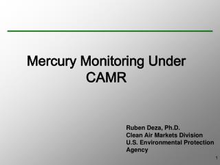 Mercury Monitoring Under CAMR