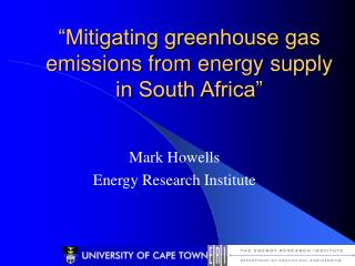 """Mitigating greenhouse gas emissions from energy supply in South Africa"""