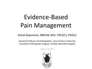 Evidence-Based  Pain Management
