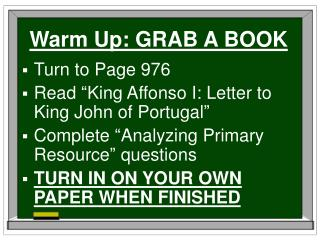 Warm Up: GRAB A BOOK
