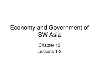 Economy and Government of SW Asia