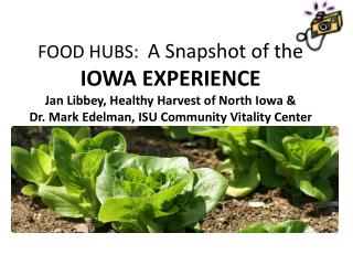 FOOD HUBS:   A Snapshot of the  IOWA EXPERIENCE Jan Libbey, Healthy Harvest of North Iowa &  Dr. Mark Edelman, ISU Comm