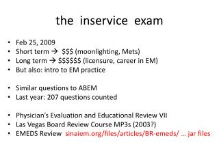 the  inservice  exam