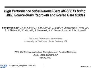 High Performance Substitutional-Gate MOSFETs Using MBE Source-Drain Regrowth and Scaled Gate Oxides