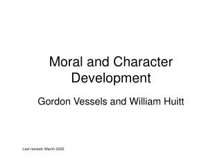 Moral and Character Development