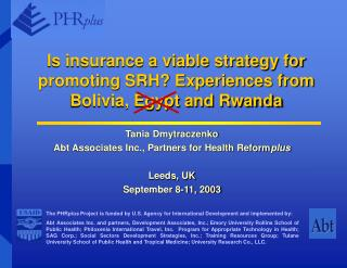 Is insurance a viable strategy for promoting SRH? Experiences from Bolivia, Egypt and Rwanda