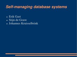 Self-managing database systems