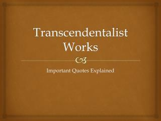 Transcendentalist Works
