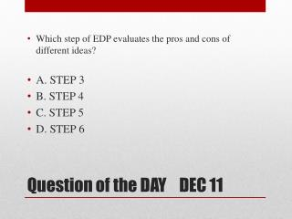 Question of the DAY    DEC 11