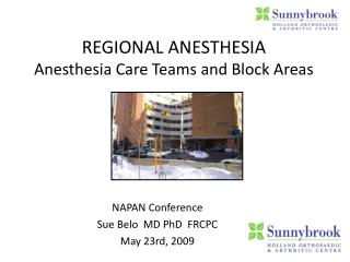 REGIONAL ANESTHESIA Anesthesia Care Teams and Block Areas