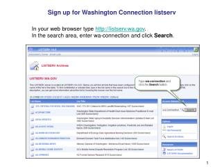 Sign up for Washington Connection listserv
