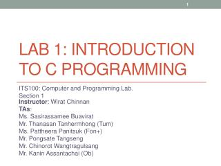 Lab 1: Introduction  to C  Programming