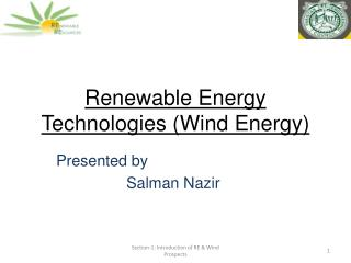 Renewable Energy Technologies (Wind Energy)