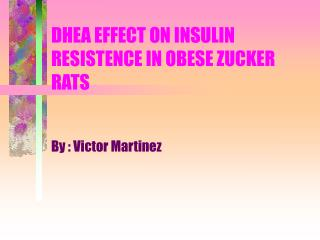 DHEA EFFECT ON INSULIN RESISTENCE IN OBESE ZUCKER RATS