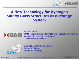 A New Technology for Hydrogen Safety: Glass Structures as a Storage System