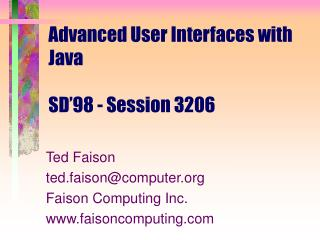 Advanced User Interfaces with Java SD'98 - Session 3206