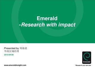 Emerald - Research with impact