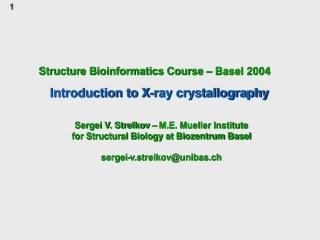 Structure Bioinformatics Course – Basel 2004