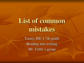 List of common mistakes