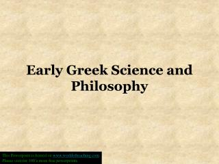Early Greek Science and Philosophy
