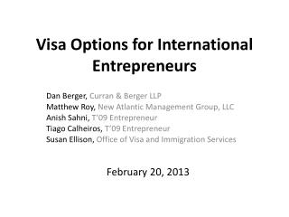 Visa Options for International Entrepreneurs