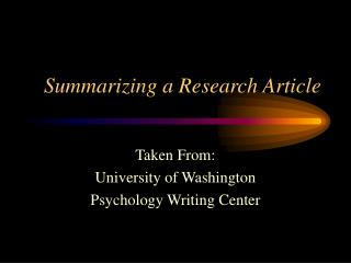 Summarizing a Research Article