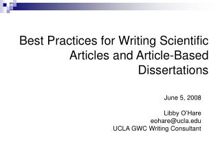 Best Practices for Writing Scientific Articles and Article-Based Dissertations
