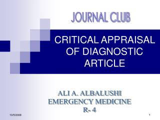 CRITICAL APPRAISAL OF DIAGNOSTIC ARTICLE