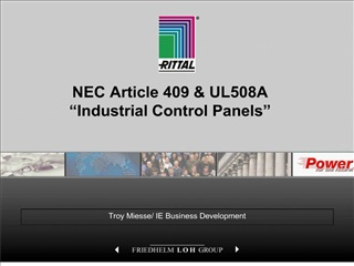 NEC Article 409  UL508A   Industrial Control Panels