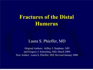 Fractures of the Distal Humerus