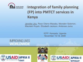 Integration of family planning (FP) into PMTCT services in Kenya