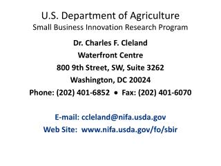 U.S. Department of Agriculture Small Business Innovation Research Program