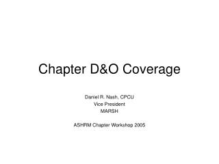 Chapter D&O Coverage
