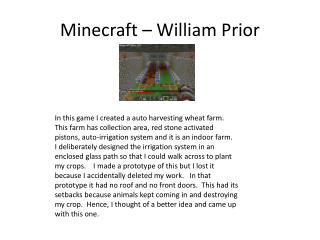 Minecraft – William Prior