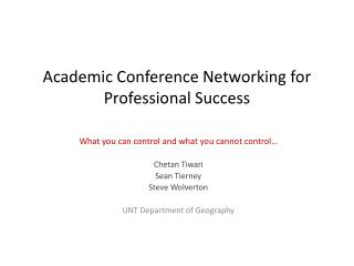 Academic Conference Networking for Professional Success