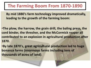 The Farming Boom From 1870-1890