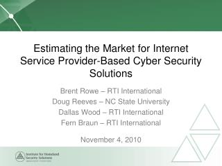 Estimating the Market for Internet Service Provider-Based Cyber Security Solutions