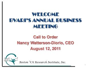 WELCOME BVARI'S ANNUAL BUSINESS  MEETING