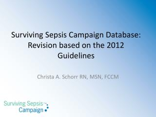 Surviving Sepsis Campaign Database: Revision based on the 2012 Guidelines