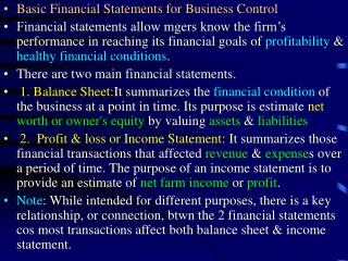 Basic Financial Statements for Business Control