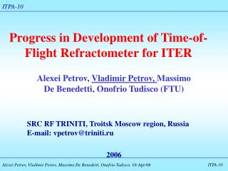 Progress in Development of Time-of-Flight Refractometer for ITER