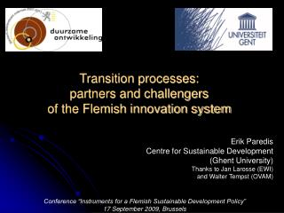 Transition processes:  partners and challengers  of the Flemish innovation system