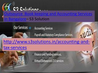 Outsource Book keeping Services in Bangalore- S3 Solution