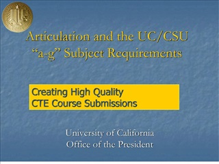 Articulation and the UC