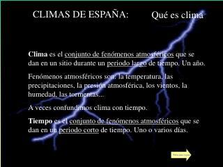 CLIMAS DE ESPAÑA: