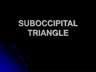 SUBOCCIPITAL TRIANGLE
